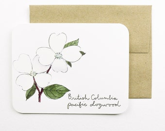 British Columbia | Dogwood | Flowers of the Provinces and Territories card with envelope | Canadian flowers | Greeting card