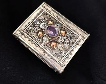Amethyst semiprecious stone -Matchbox, Pillbox, Ring Box, handcrafted Indonesian sterling silver and 14K Gold