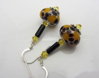 Animal Print Lampwork Earrings Artisan Earrings Black Yellow Earrings Glass Bead Earrings Dangle Earrings With Swarovski Crystals SRAJD