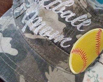 Softball Mom camo cadet hat *ON SALE*