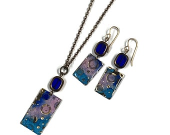 Hand painted denim blue and rusty necklace and earring set