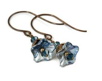 Montana Blues - Flower Earrings with Brass