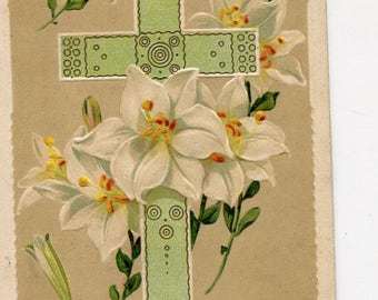 Easter postcard - Easter vintage postcard,  Easter lilies, cross antique postcard
