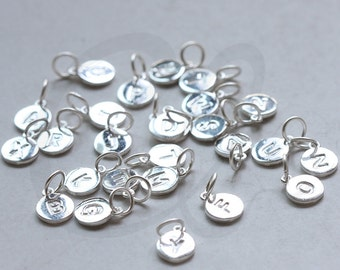 One Piece of 925 Sterling Silver Initial Charms -Letter-Alphabet-8mm