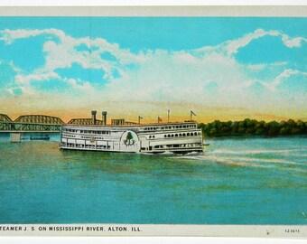 Steamer J.S. on the Mississippi River, Alton Illinois White Border Postcard 18453