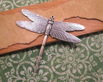 Dragonfly Pendant in Antique Silver