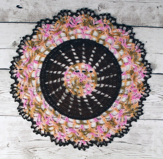 Crocheted Dark Brown Pink Peach Light Brown Variegated Doily Table Topper - 13""
