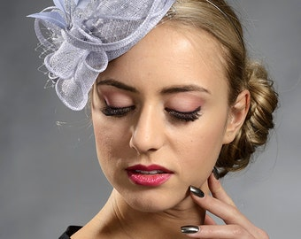 Light grey elegant small fascinator hat for your special occasions