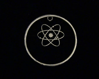 GREECE - cut coin pendant - w/ the Atom, our favorite unit of matter.... 1992