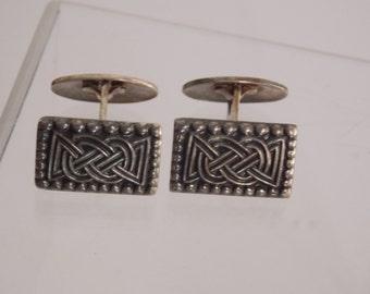 FREE SHIPPING -Vintage David Anderson Sterling Celtic Knot Viking Cufflinks