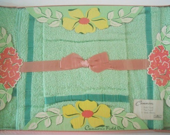 Vintage Unopened Cannon Field Day Towel Set in Green