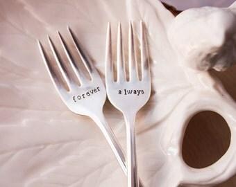 Wedding Forks - Vintage Forks - Forever & Always - Vintage Silverplate Wedding Forks - Wedding CAKE Forks