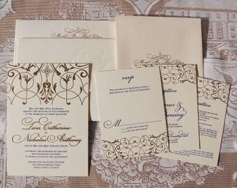Letterpress Wedding Invitation DEPOSIT, Classic Wedding Invitation, Gold Invitation, Wedding Invitation Suite, Wedding Invitations