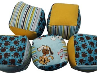 Soft Baby Blocks (set of 5) in Puppy Dog and Paw Prints