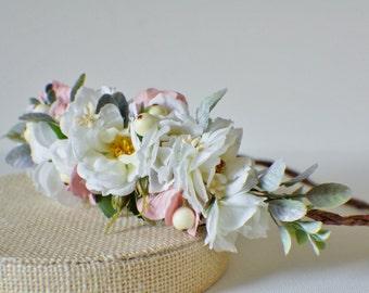 Newborn Crown, Flower Crown Headband Halo, Baby Girl Tiara, Baby Floral Headwreath, Newborn Photo prop, Head Wreath