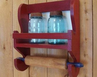 Farmhouse Rolling Pin Jar Shelf Primitive Kitchen Storage Custom Size Color Choice