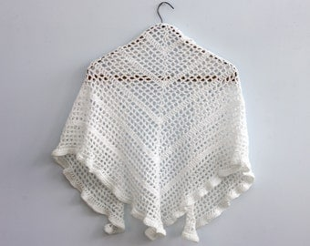 White Lace Bride's Shawl with Flower Scarf Pin, Hand Crocheted, Bridal Wedding Shawl
