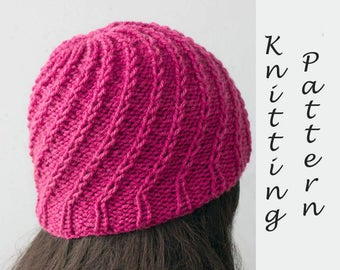 Spiral Hat Knitting Pattern,  Knit Hat PDF Pattern, Winter Hat Pattern, Instant Download