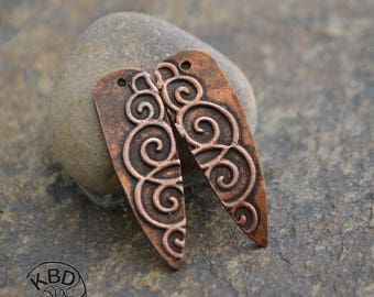 Handmade Copper Ornate Shard Component pair