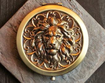 Lion compact mirror, antique brass compact, leo compact mirror, bronze mirror, animal mirror, bridesmaid gift, unique Christmas gift
