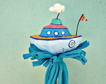 Boat Toy Paper Mache Storytime Prop Puppet Decor Accent: Little Tug