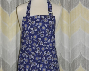 Blue & Yellow Daisy Kitchen Apron - FREE or PRIORITY Shipping - Handmade Apron, Sewn and Ready to Ship!