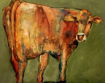 COW FOLK Art Colette W. Davis 4x4 Art Giclee print Looking Back