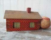 Vintage Halsam building railroad building Christmas village house brick house wooden toy play building N1