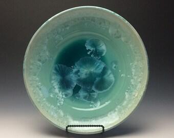 Light Green/Teal crystalline Glazed Plate