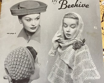 OOP RARE 1950's Beehive Knit and Crochet Hats and Scarves Patterns-Booklet #74