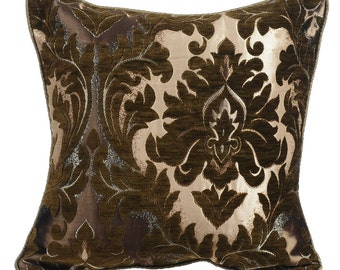 """Antiqued Damask Throw Pillows Cover, 16""""x16"""" Jacquard Throw Pillows Cover, Square Couch Toss Sofa Damask Pillow Cover,"""