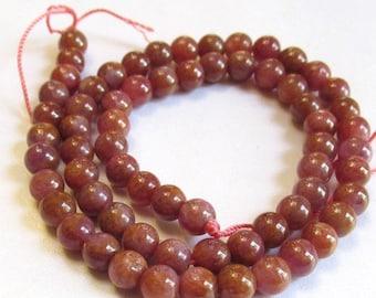 25% Off Sale Pink Sapphire Beads 6mm 6.5mm Round Natural Gemstone,