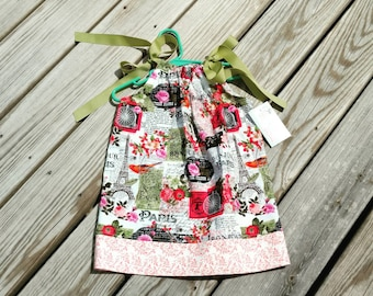 Girls Spring Dress- Pillowcase Dress - Paris Dress - Eiffel Tower Dress - Bon Jour - French Themed Dress-  Sundress - Groovy Gurlz