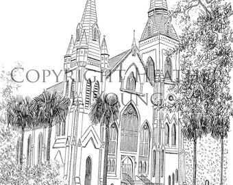 Savannah Pen and Ink Drawing - Wesley Monumental United Methodist Church