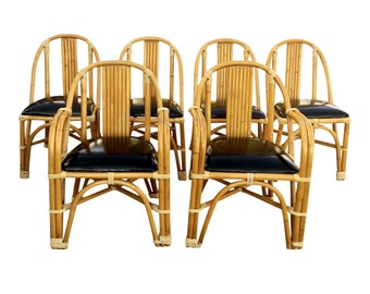 1950s Set of 6 Rattan Dining Chairs by Tropitan