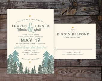 Printed wedding invitations, elegant wedding invitations, outdoor wedding invitations, mountain wedding invitations, outdoorsy wedding
