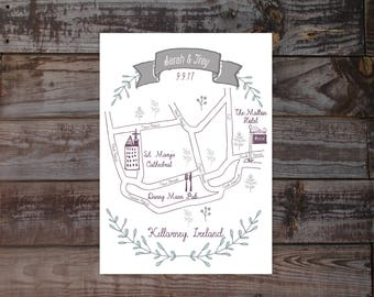 Map, hand drawn map, wedding map, event map, printed maps, diy map, location map, illustrated map, wedding invitation map, size 5x7