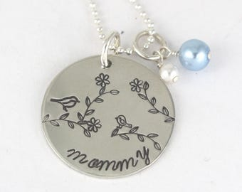 Mama Bird and Baby Bird Family Silver Necklace - Mother's Day Gift - Personalized Gift for Mom or Grandma