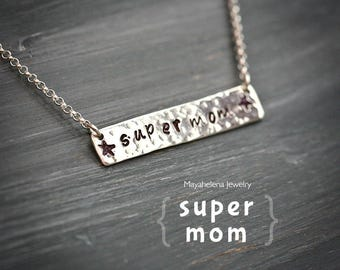 Super Mom Horizontal Bar - Sterling Silver Necklace