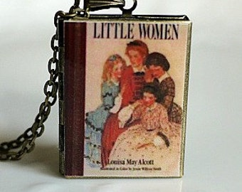 Little Women, Louisa May Alcott, Children's Lit, American Novel, Civil War Period, Best Loved Book, Book Locket Necklace