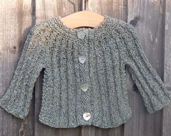 Cardigan TOP DOWN KNITTING Pattern  - Callie a Seamless Cabled Cardigan Jacket Knitting Pattern (6 Sizes, 0 - 7 yrs)