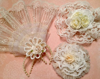 Vintage Lace Embellishment, Shabby Chic Fan, Decoration, Package Topper, Flower Group, Bag Flower, Hair Accessory, Home Decor, Brooch Supply