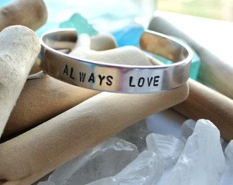 Always Love Aluminum Cuff Bracelet