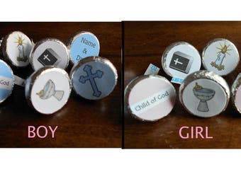 216 Baptism Stickers for a Boy or Girl for Chocolate Kiss Candy-PRINTED FOR YOU