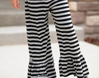 Black and Gray Knit Ruffle Pants - SALE