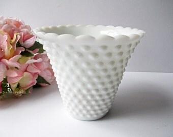 Vintage Fenton Milk Glass Hobnail Jardiniere Vase - Classic Elegance