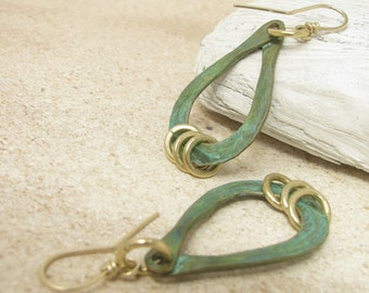 Verdigris Earrings, Green Patina Earrings, Brass And Gold Fill Earrings, Tear Drop Earrings, Mixed Metal Earrings, Brass Dangle Earrings
