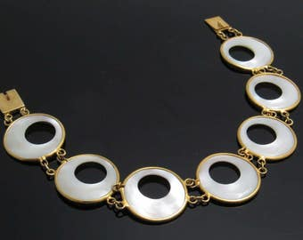 Wide Mother of Pearl Link Bracelet White Vintage Jewelry B7678