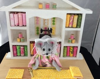 Felt Mouse in Her Sewing Center!  LAST ONE. 25.00