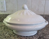 Beautiful old white ironstone footed serving dish with cover- good condition, beautiful design, marked  J F (England)- no chips